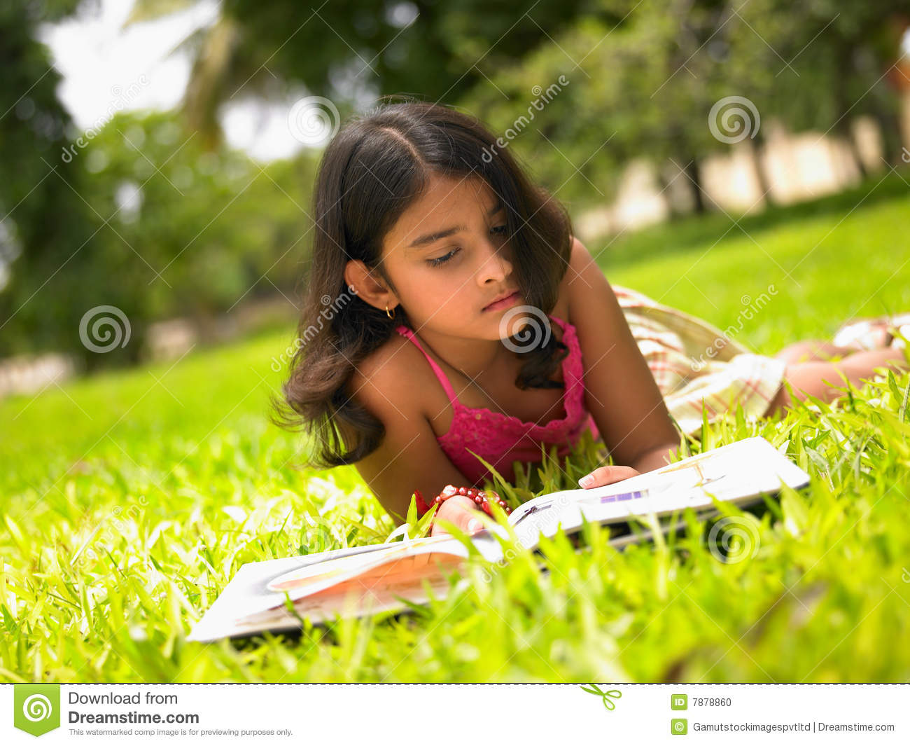 Asian Girl Reading A Book In The Park Stock Photo - Image ...