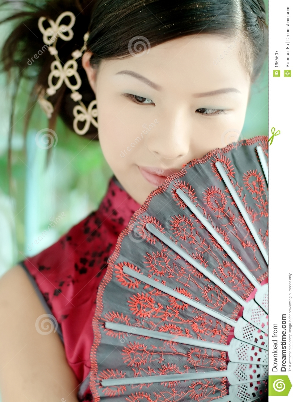 Asian girl in red Chinese dres