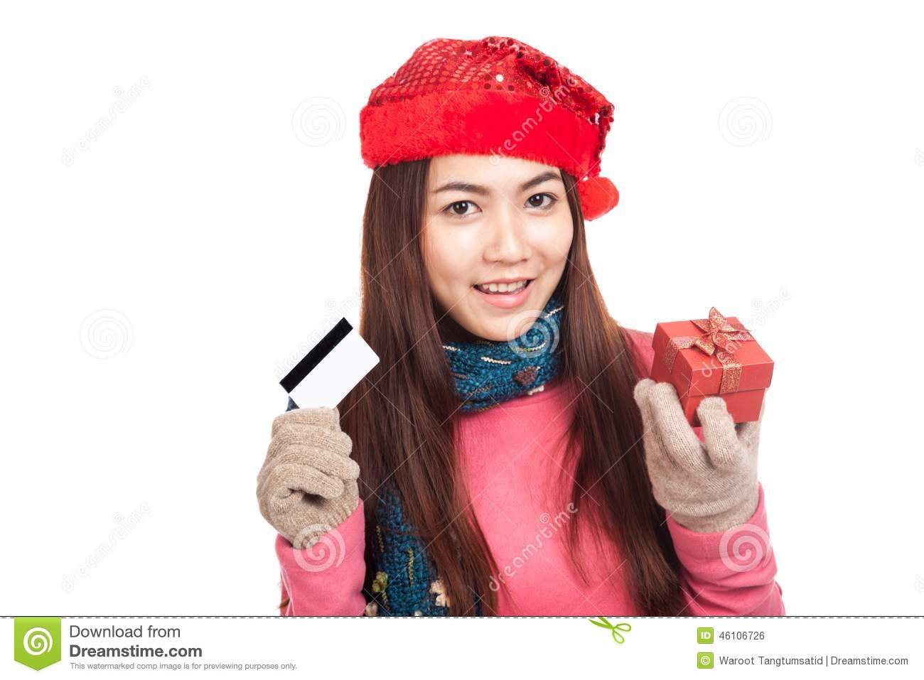 asian girl with red christmas hat credit card and gift box