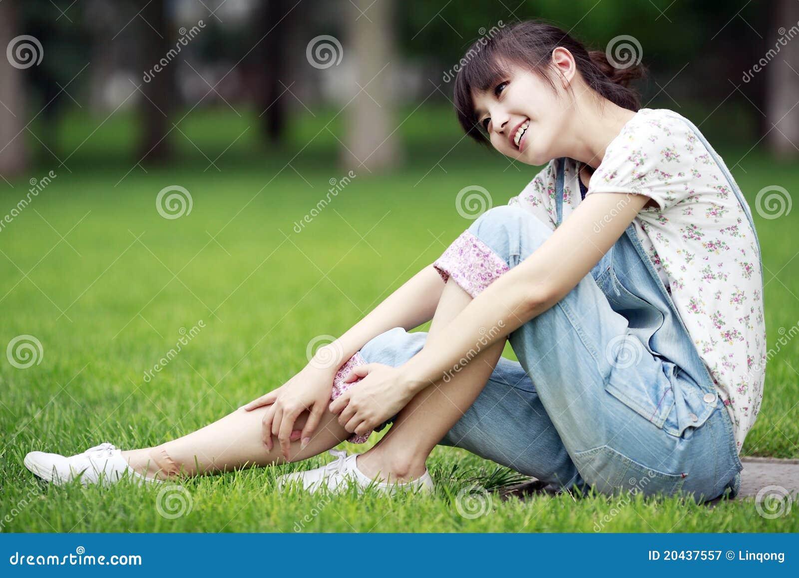 Asian girl relaxing outdoor