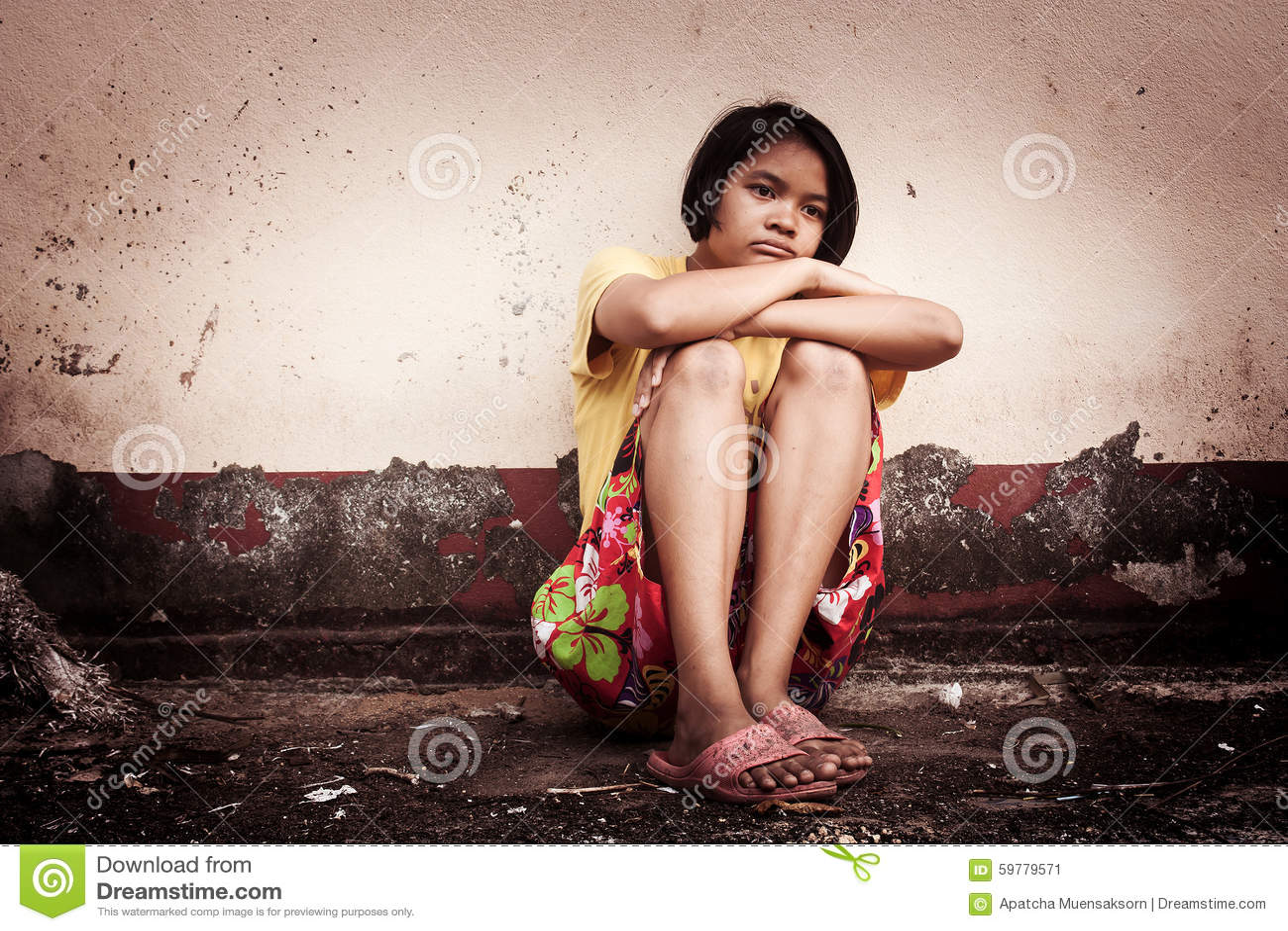 Asian girl alone
