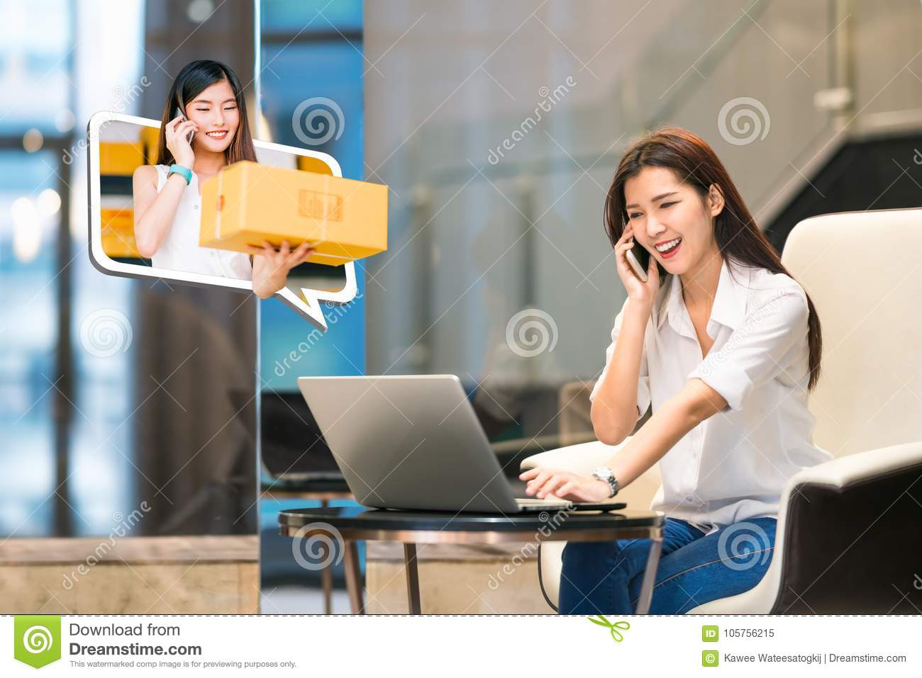 Asian girl shop online using phone call with female small business owner delivering parcel box. Internet shopping lifestyle