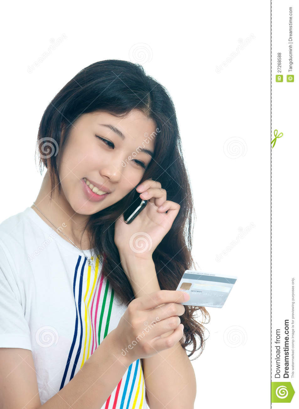 asian girl shopping with credit card royalty free stock