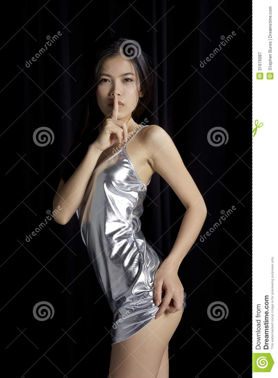 Asian Girl Silence Finger Stock Image Image Of Long -8581