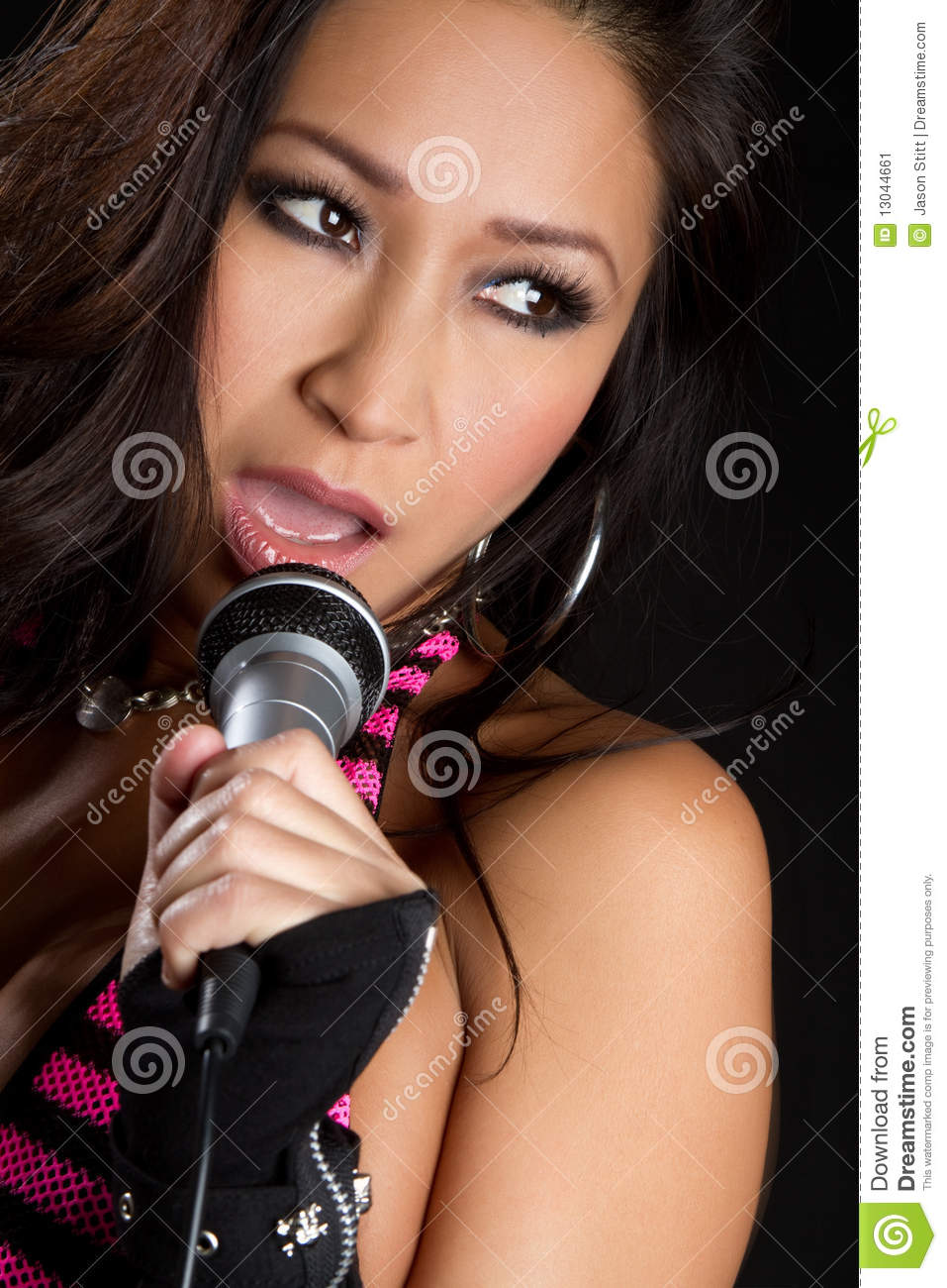 asian girl singing stock image   image 13044661