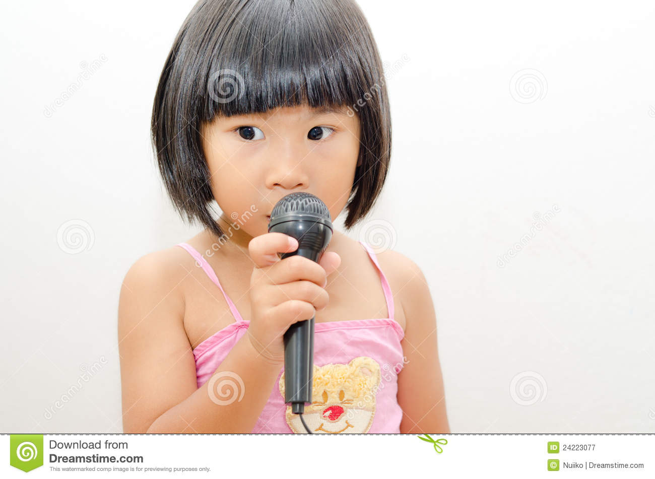 asian girl singing royalty free stock photography   image