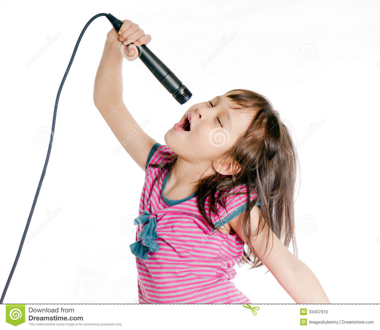 asian girl singing with microphone stock photo   image