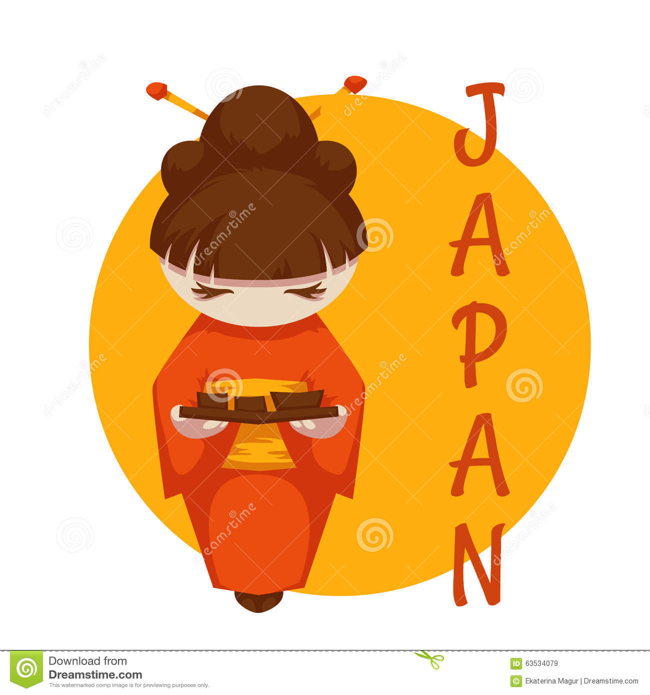 asian girl with sushi japan vector illustration stock