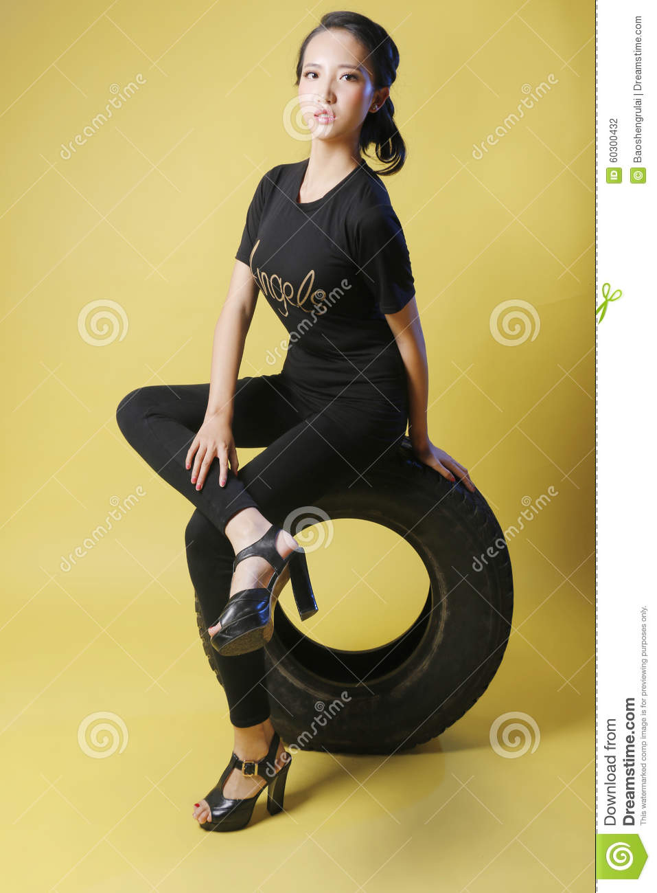 Asian girl and tire