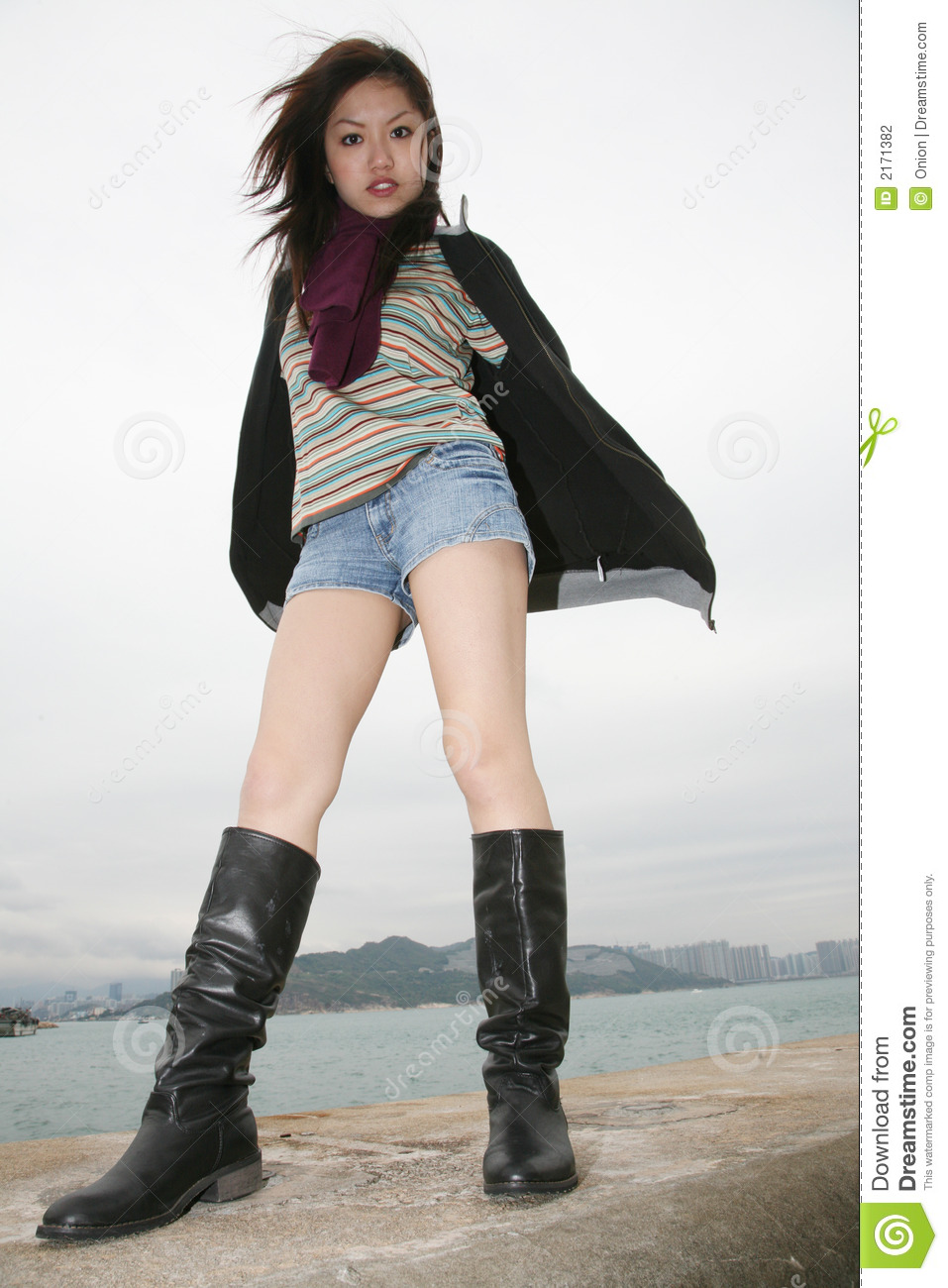 Asian chick in boots