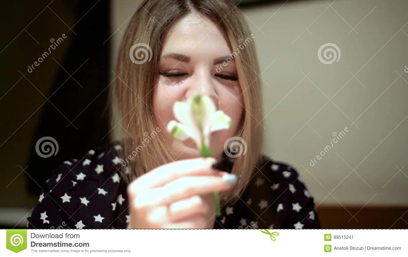 Asian Girl Woman Sniffing A Small White Flower Stock Video Video