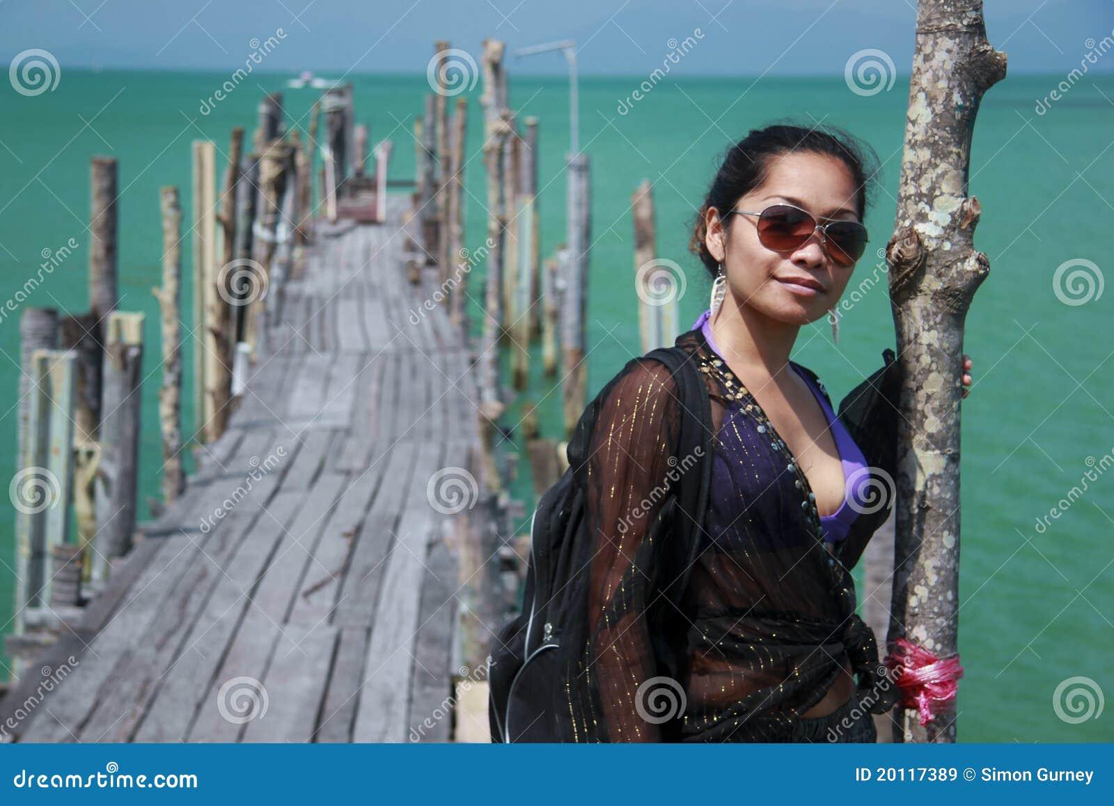 Asian Girl On Wooden Pier Koh Samui Royalty Free Stock ...
