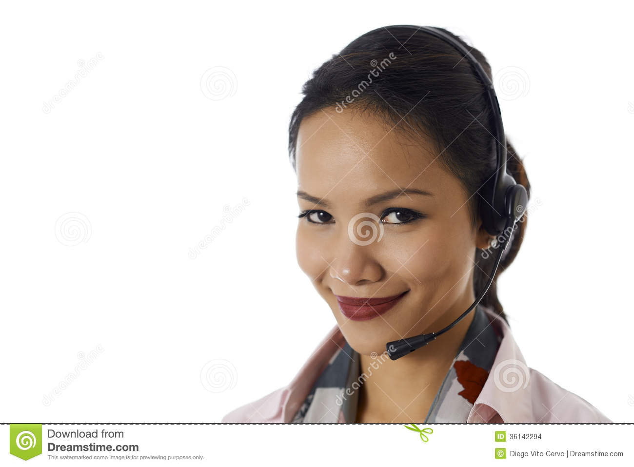 asian girl working as customer service representative stock images asian girl working as customer service representative