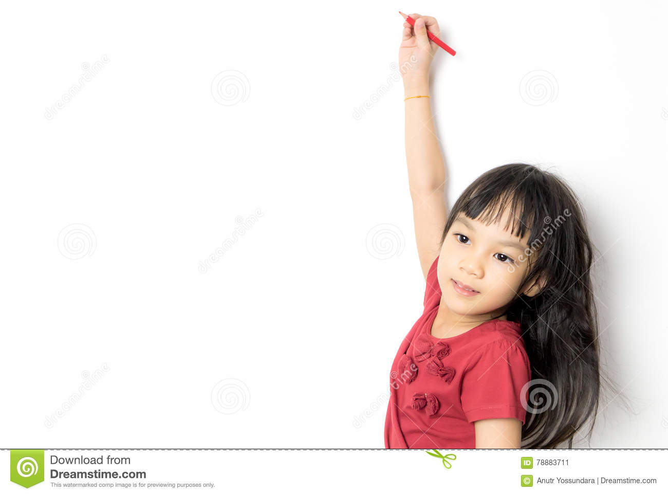 Asian girl is writing on a white background