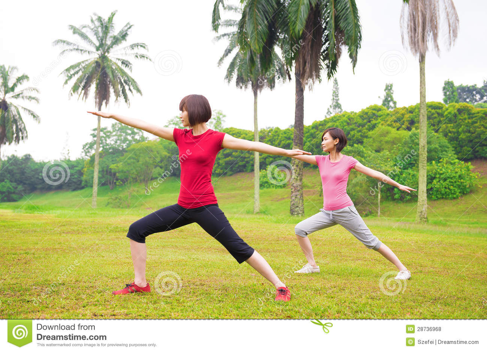 Asian girls yoga outdoor