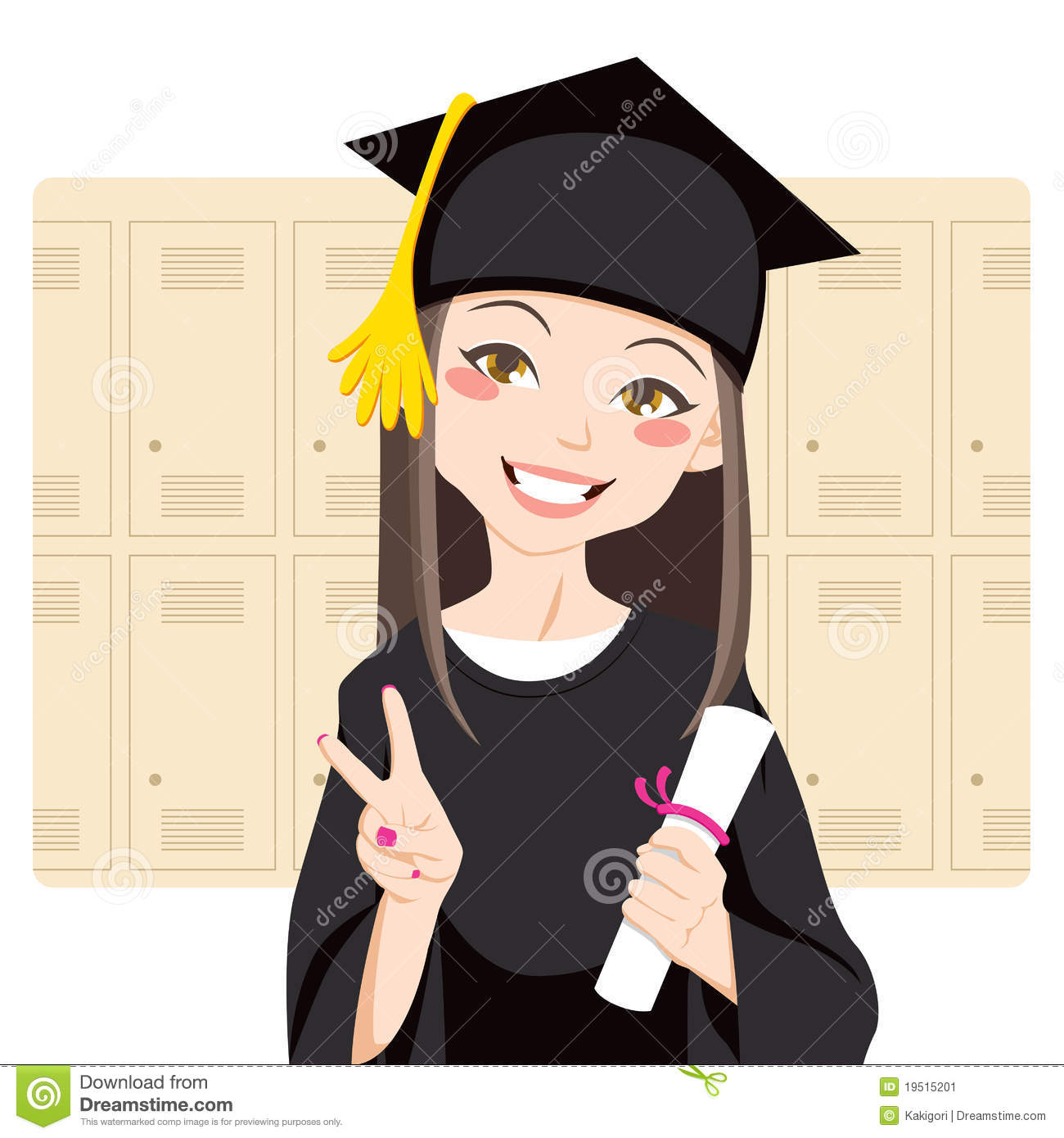 Pretty asian woman smiling in front of lockers holding diploma in her ...