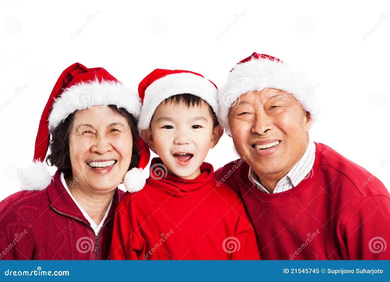 Asian grandparents celebrating Christmas