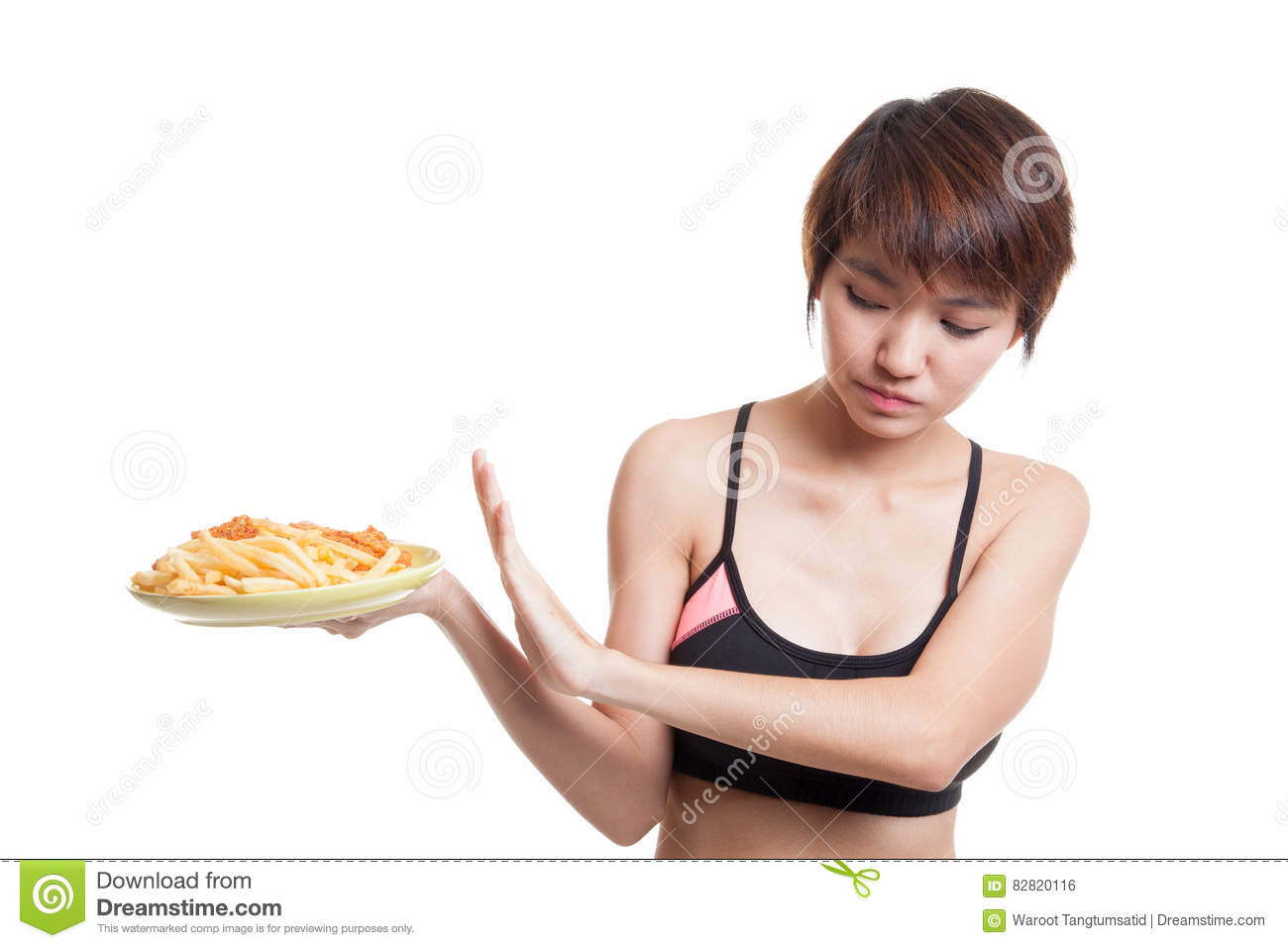 Asian Healthy Girl Hate French Fries And Fired Chicken Say