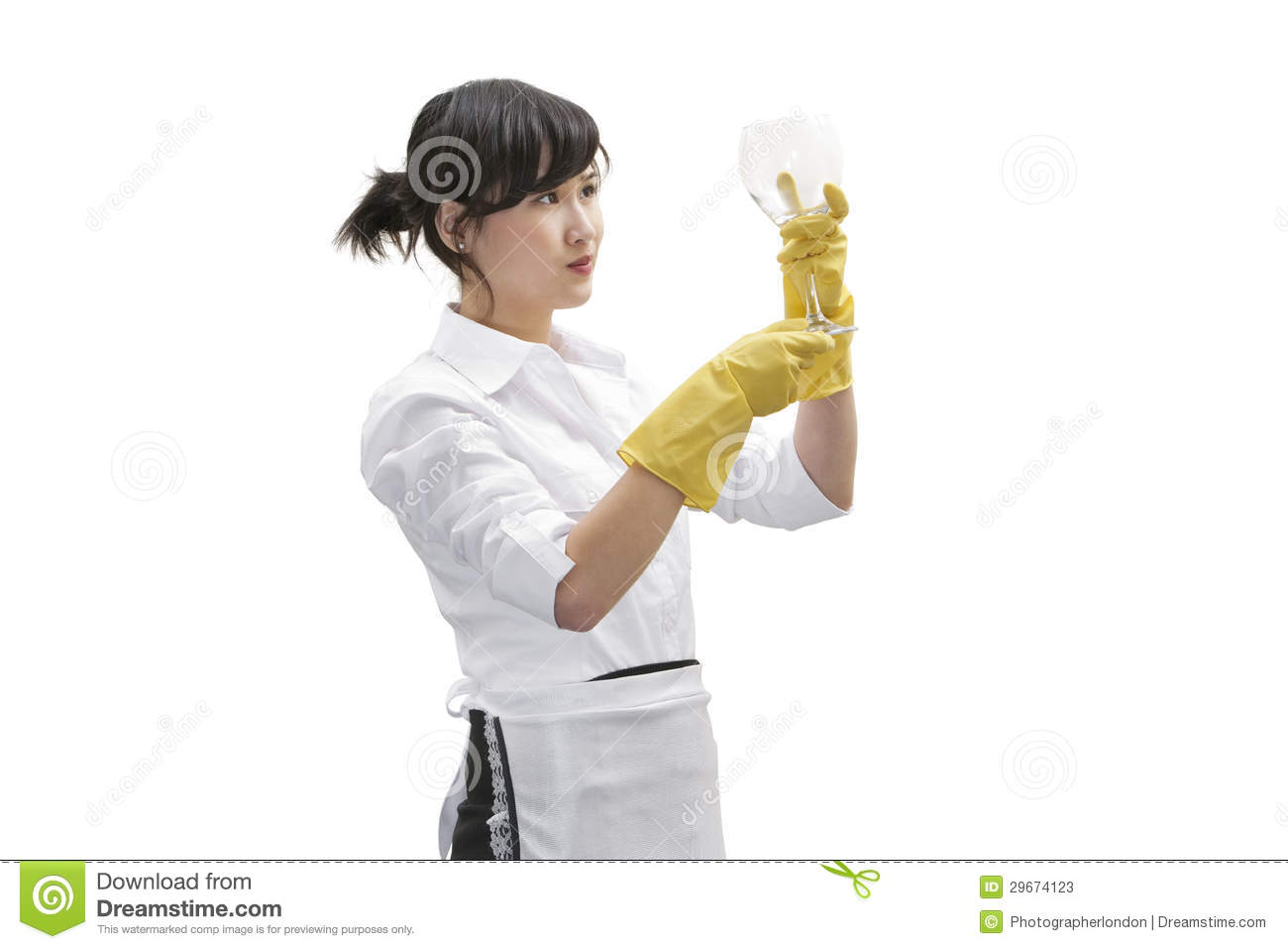 Asian House Cleaner Looking At Glass Over White Background Stock ...