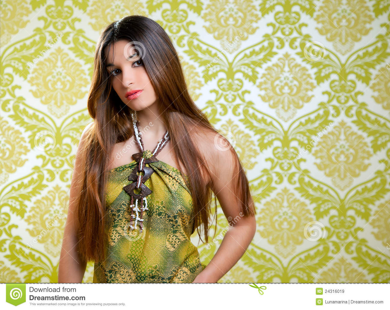 Asian Indian Beautiful Girl With Long Hair Royalty Free -4259