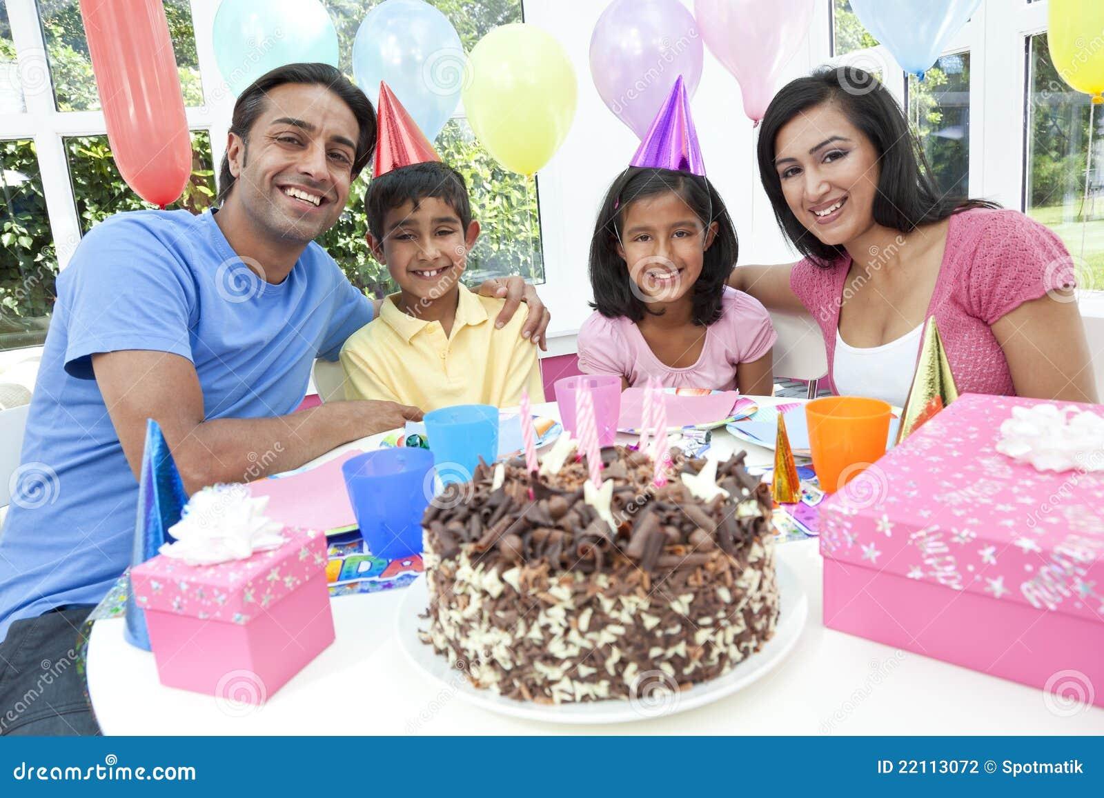 Asian Indian Family Celebrating Birthday Party Stock