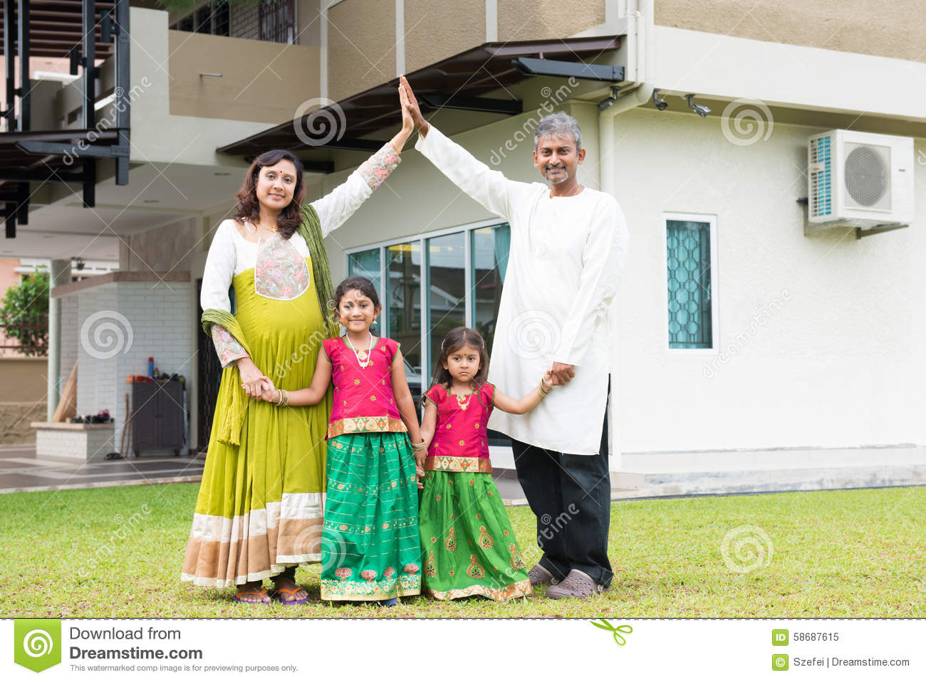 Asian indian family outside their new home stock image image 58687615 - Houses attic families children ...