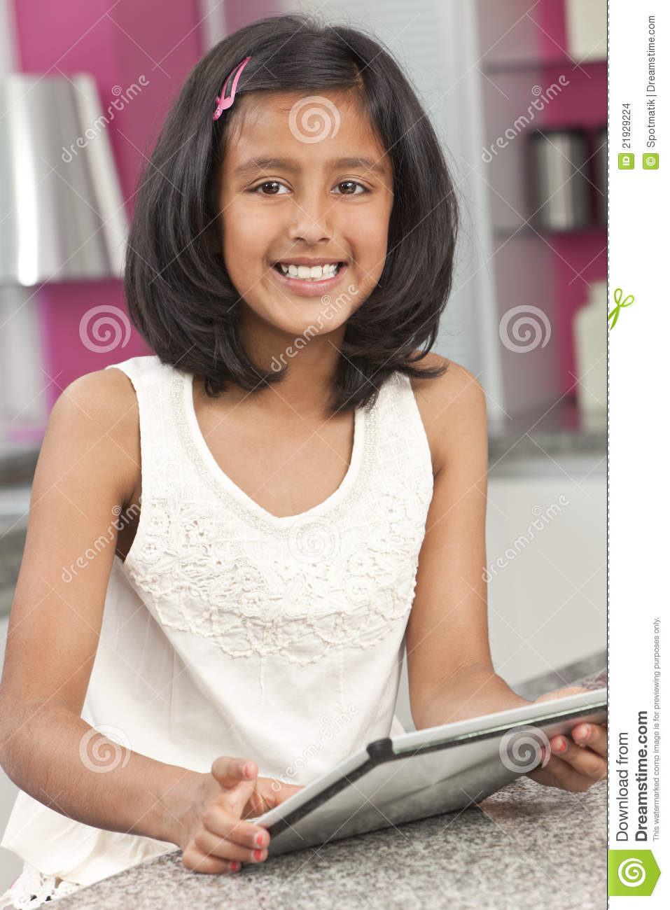 Asian Indian Girl Child Using Tablet Computer Stock Photo -9058