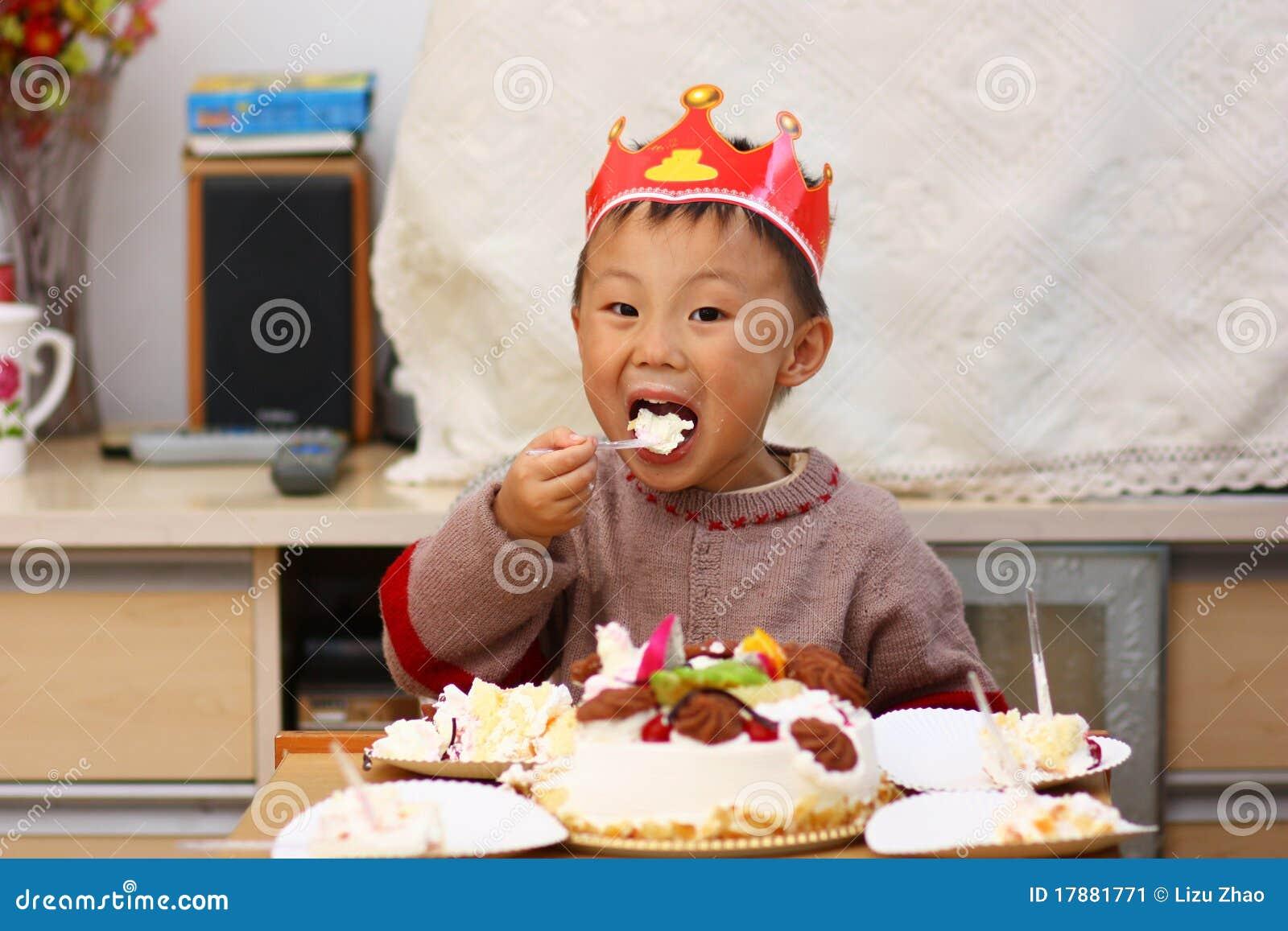 Asian Kid At Birthday