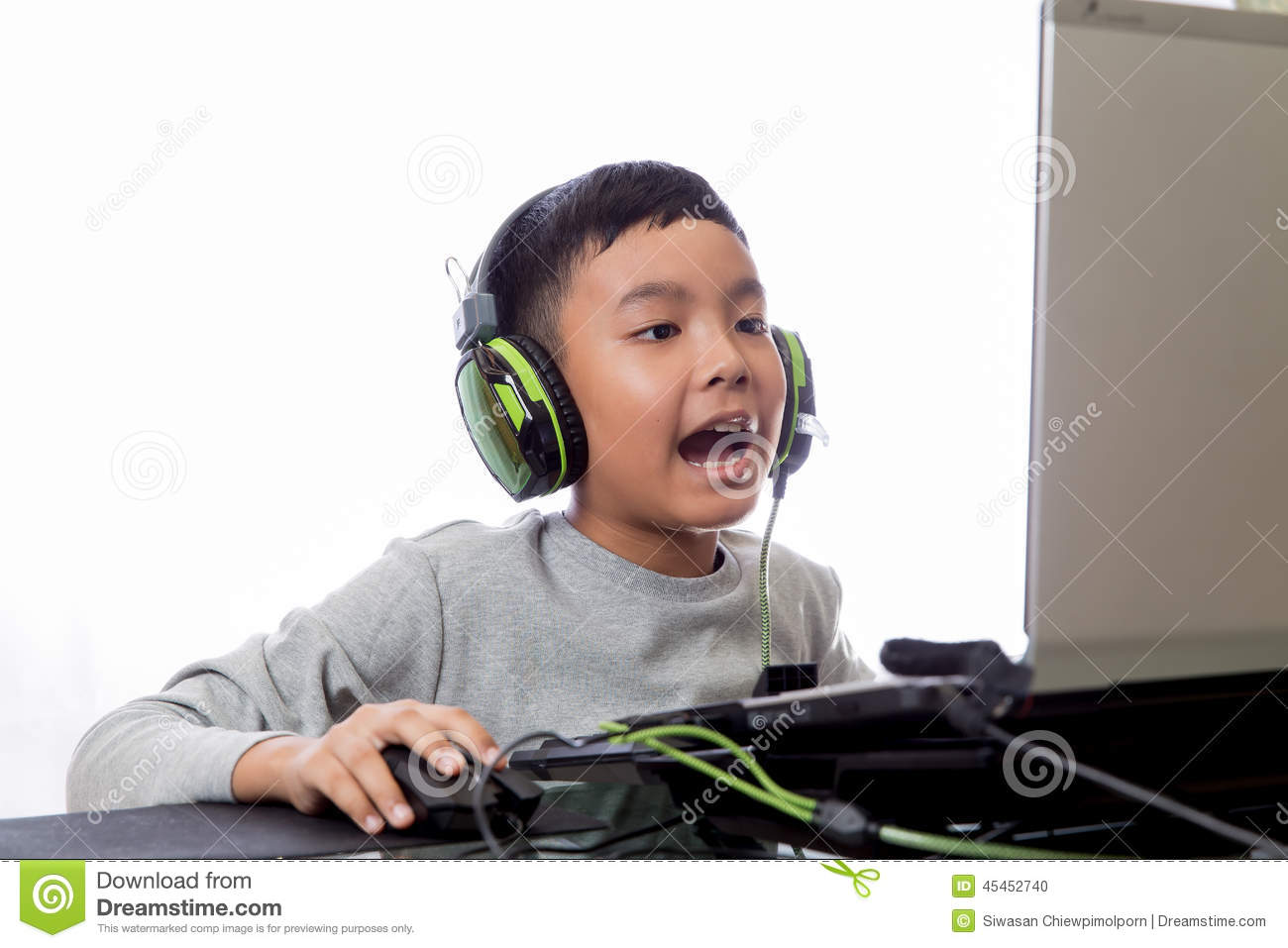 Asian Kid Play Computer Games And Talking With Friend Stock Photo ... Woman Face White Background