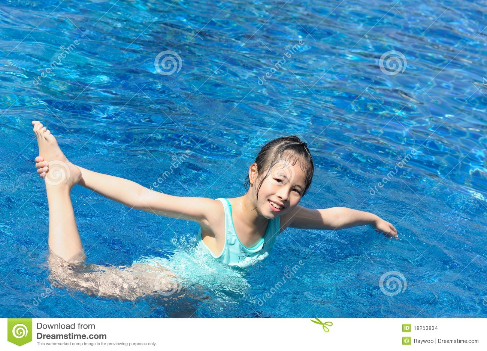 Asian pool swim