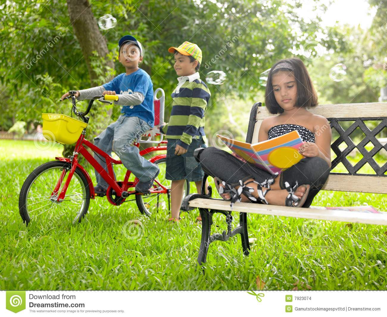 Asian Kids Playing In The Park Stock Images - Image: 7923074