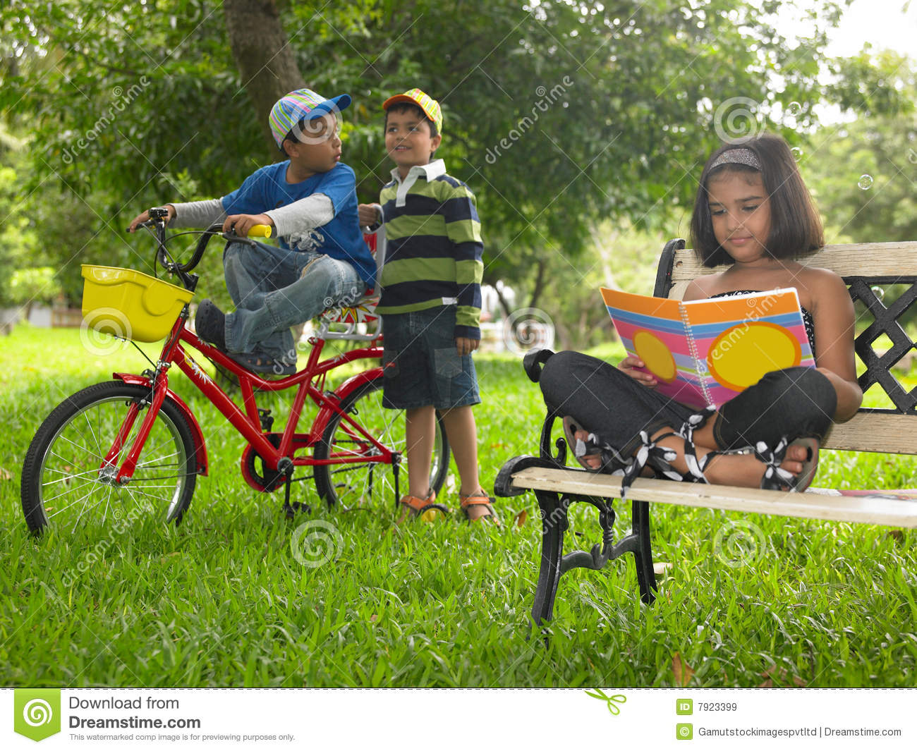 Asian Kids Playing In The Park Royalty Free Stock Images ...