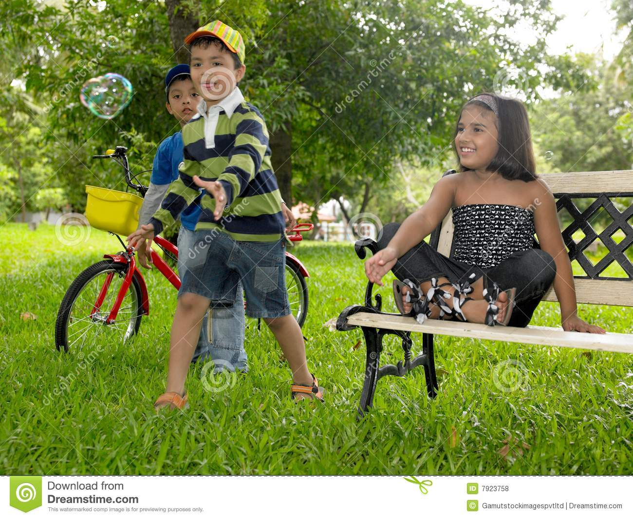 Asian Kids Playing In The Park Stock Photo Image 7923758
