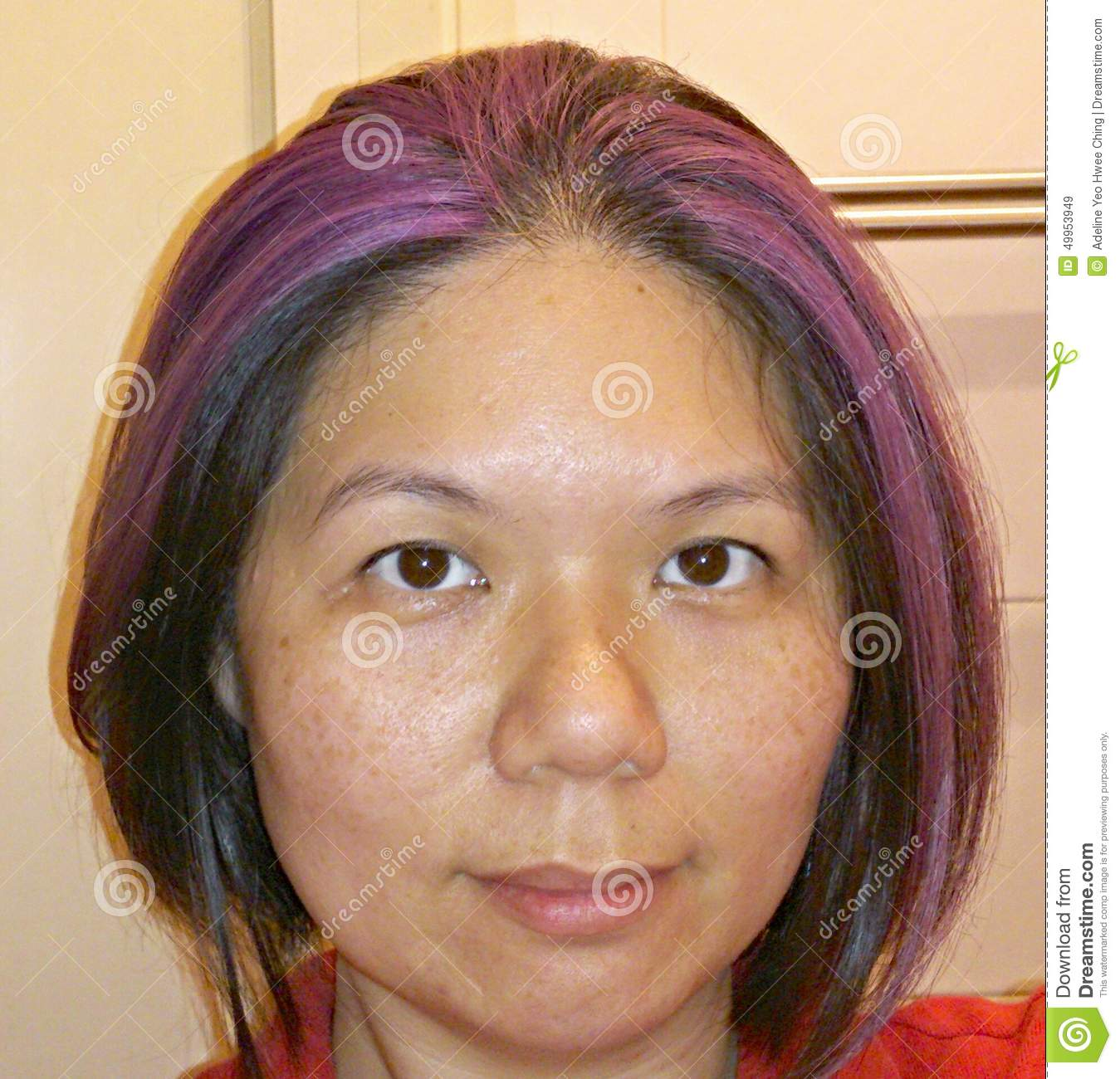 Asian Lady With Purple Highlight Stock Image Image Of Chinese
