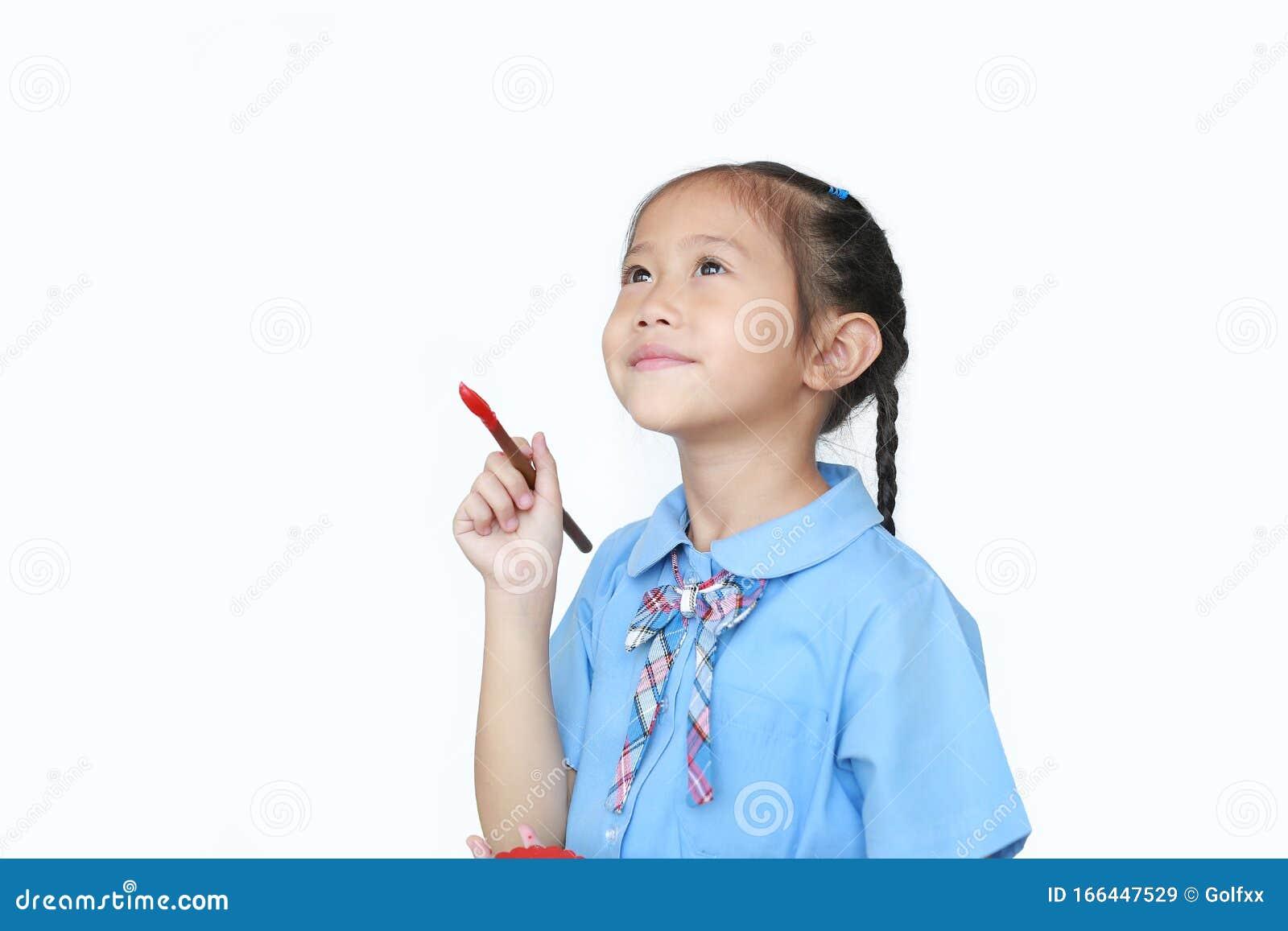 Asian Little Child Girl In School Uniform Holding Red ...