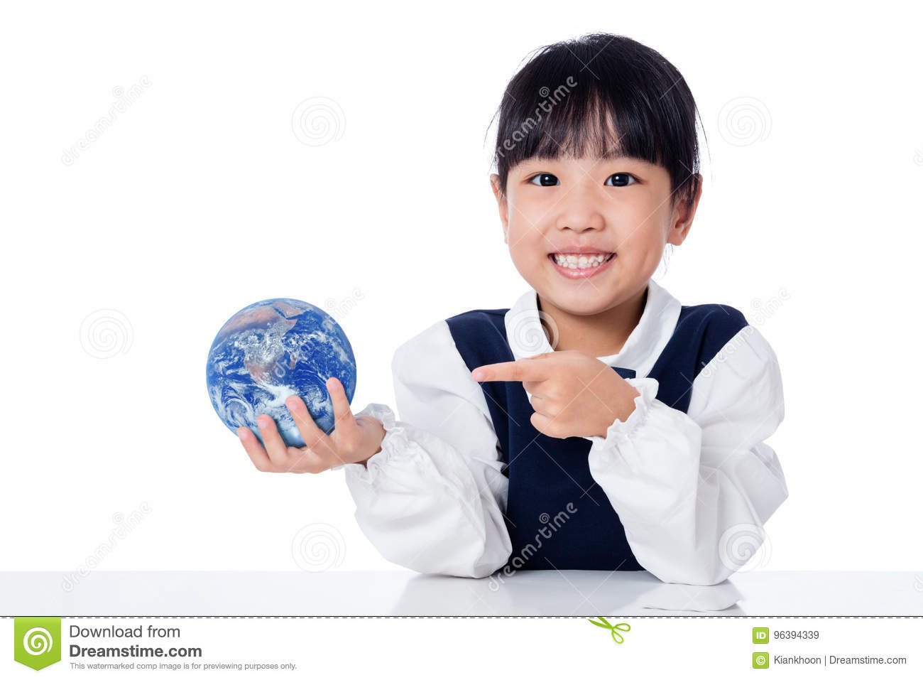 Asian Little Chinese Girl Holding a World Globe