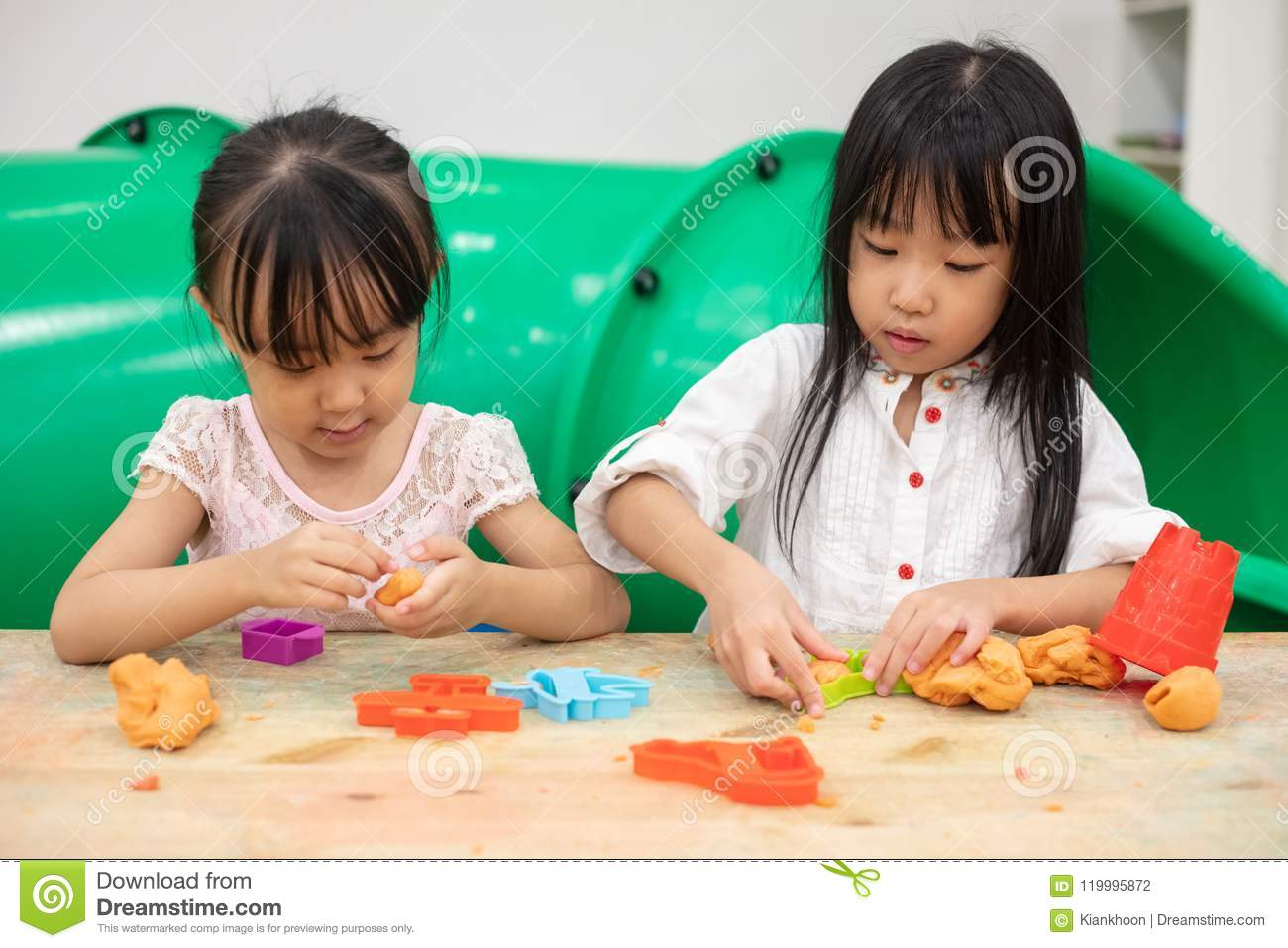 Asian Little Chinese Girls Playing Colorful Clay