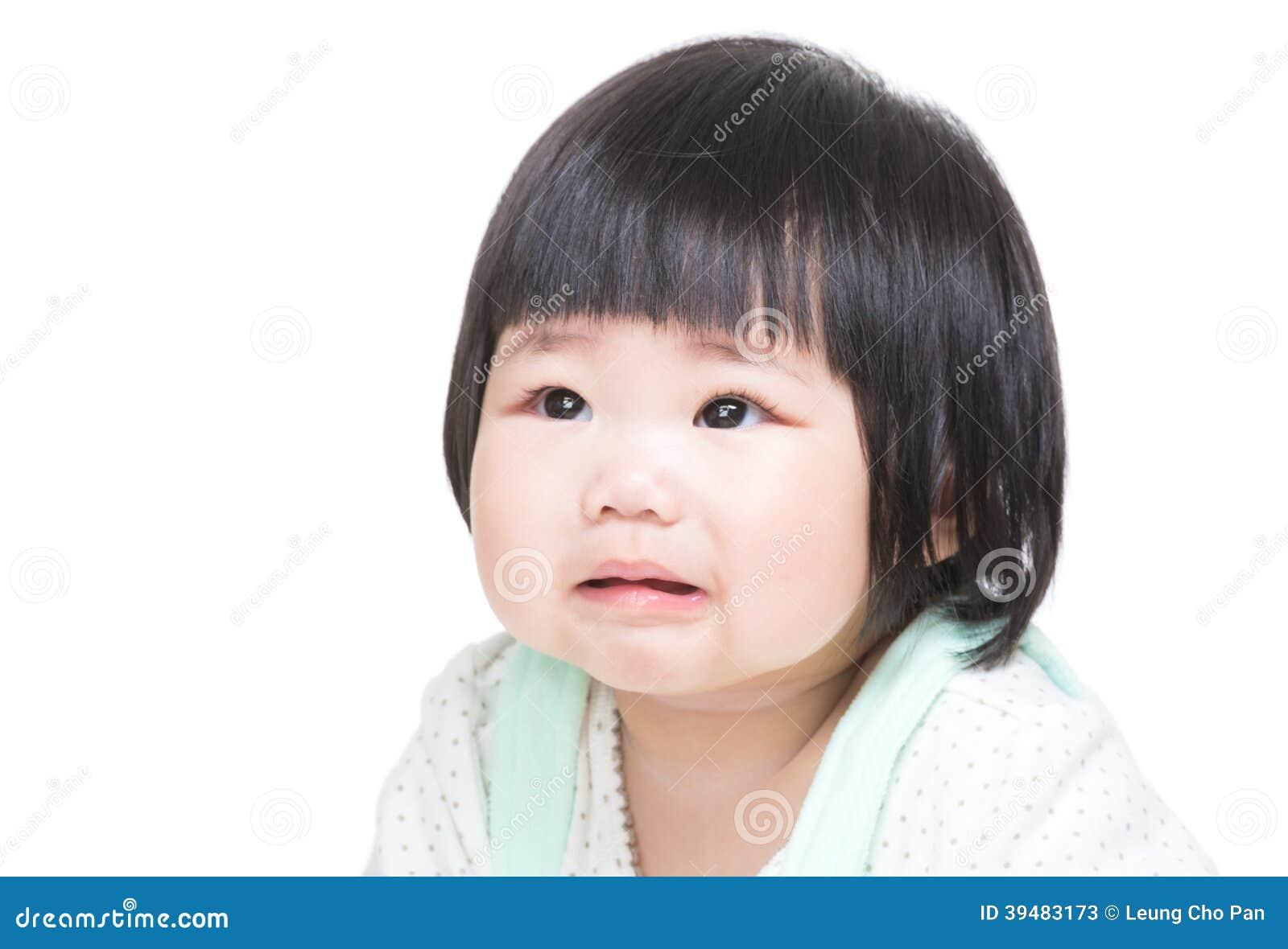 Asian little girl cry