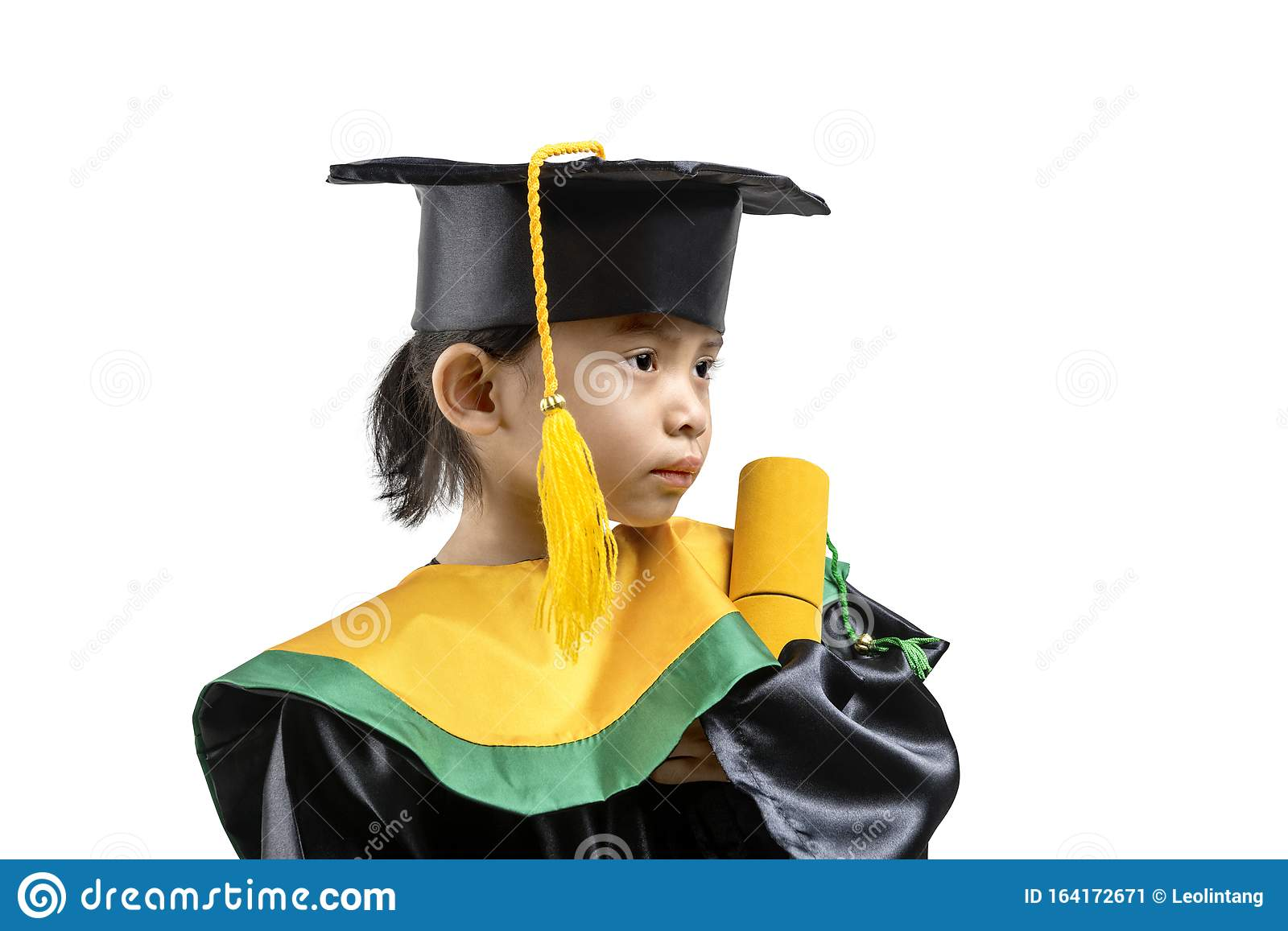 Asian Little Girl in Hat and Graduation Gown Holding Certificate ...