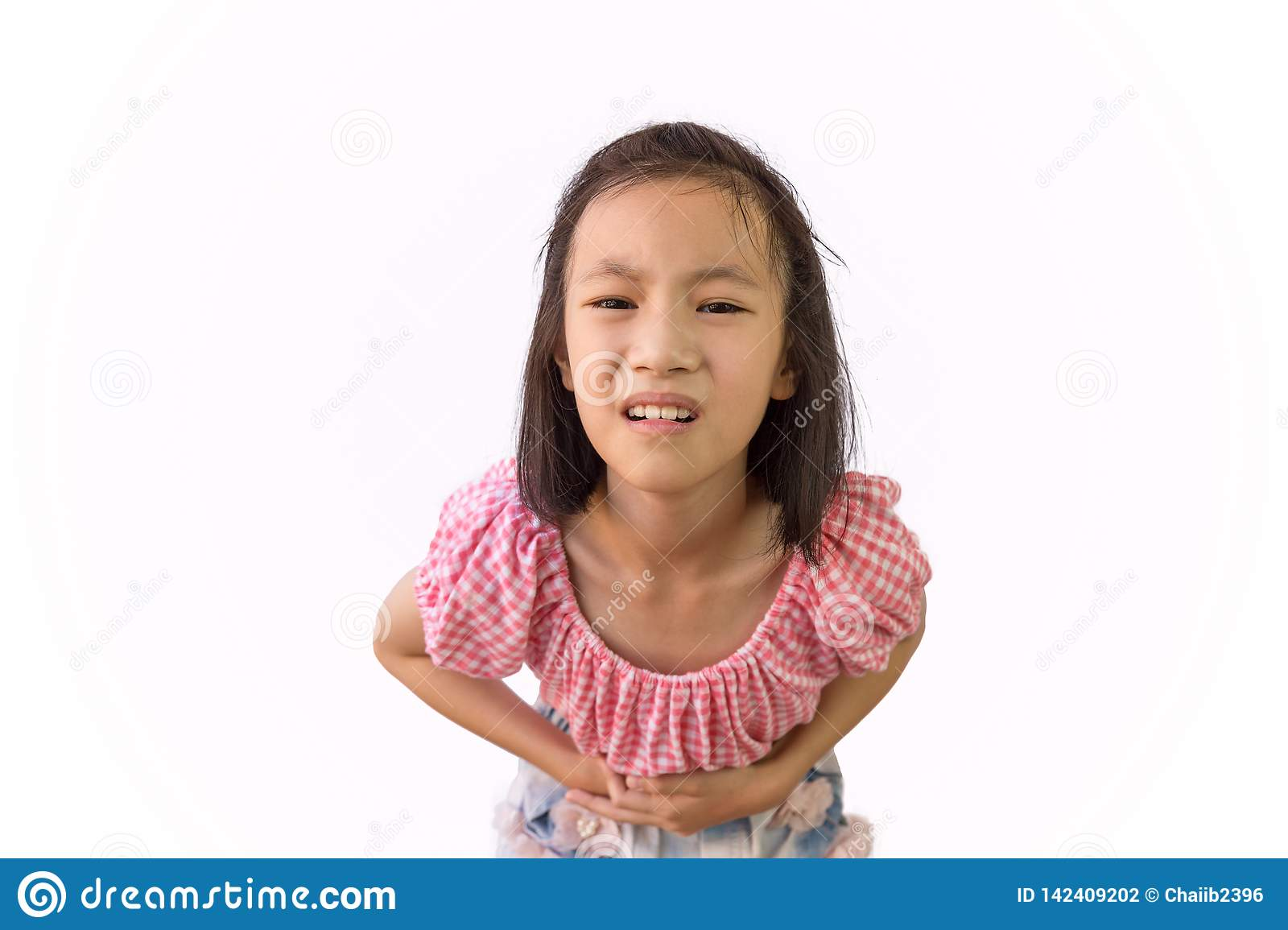 Asian Little Girl Is Painful Stomach Ache Isolated On White Background,  Child Having Food Poisoning,Sickness And Healthcare Stock Photo - Image of  beautiful, menstrual: 142409202