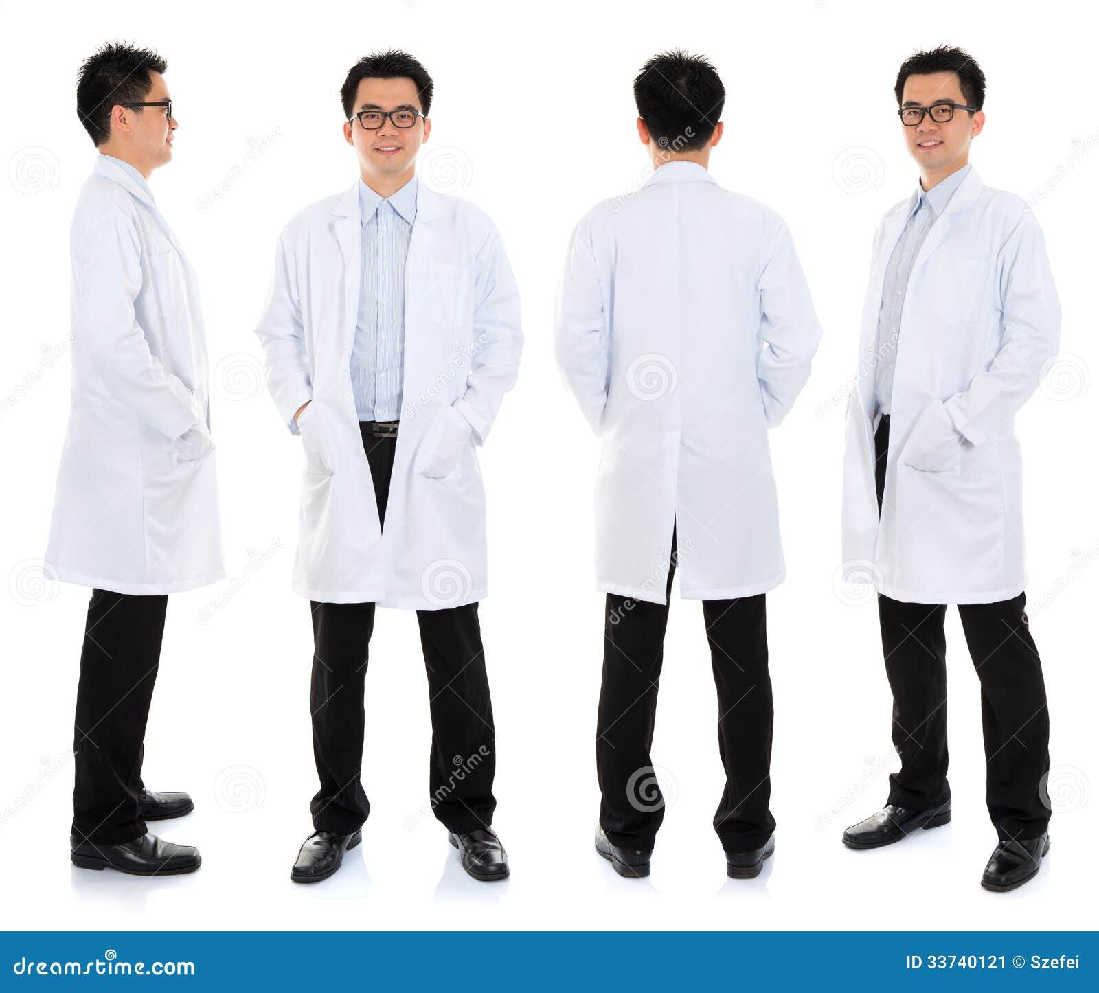 Asian Male Beauty Therapist In Beautician Uniform Stock