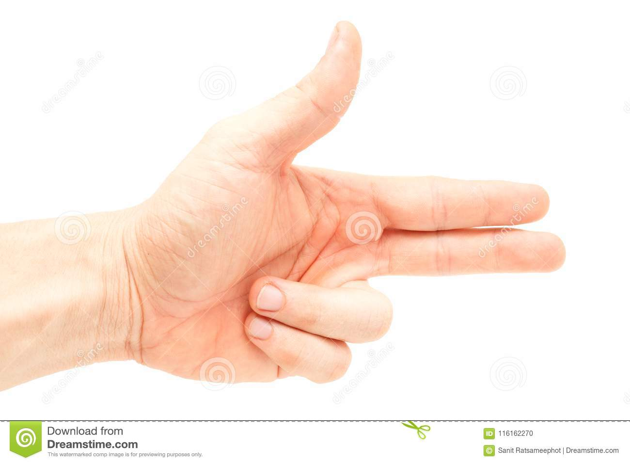 Asian Male Hand That Makes A Symbol Means Gun Stock Photo Image