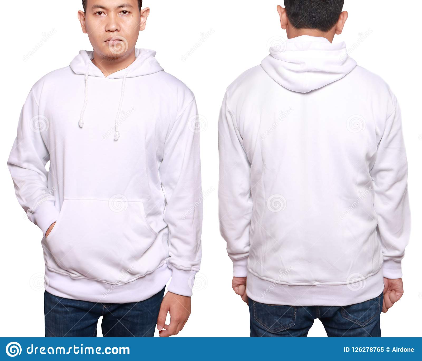 Asian male model wear plain white long sleeved sweater sweatshirt mockup