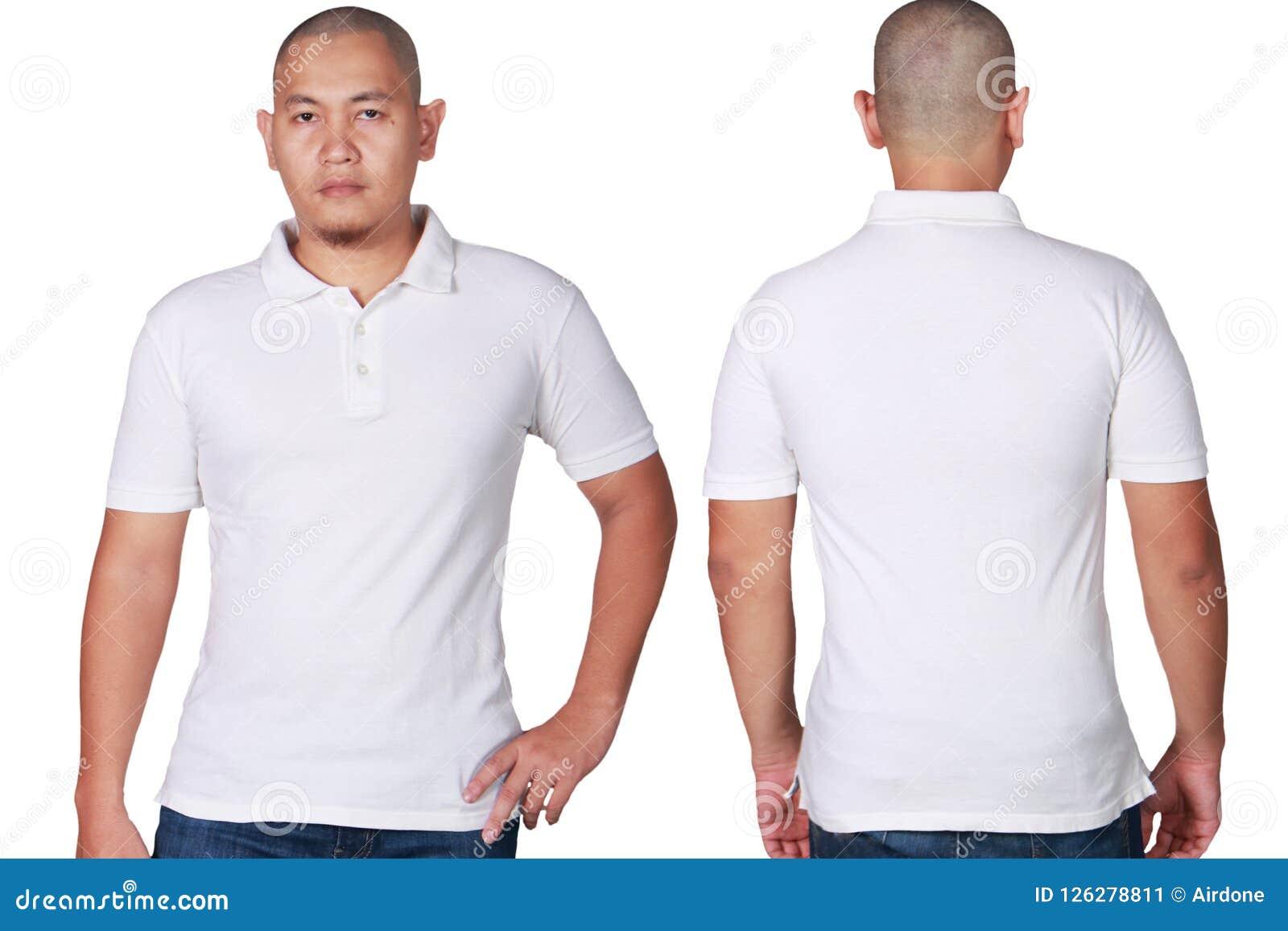 Asian Male Model Wear Plain White Polo Shirt Mockup Stock Image