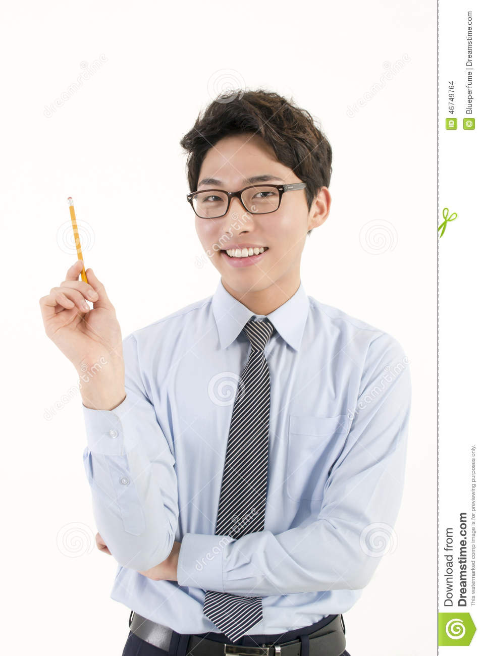 Asian Male Student With A Pencil Stock Photo Image 46749764