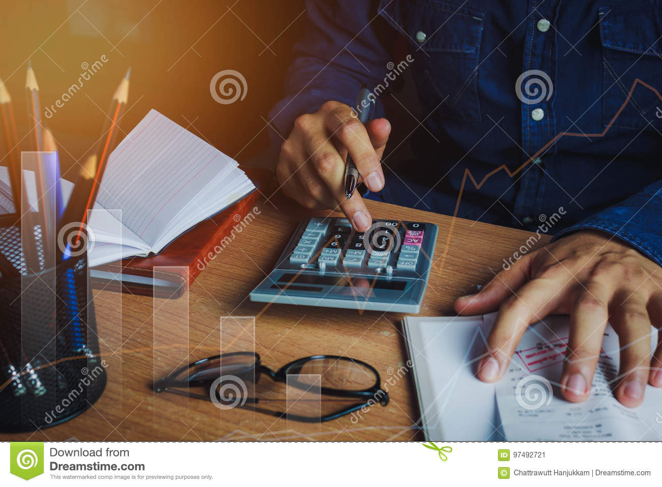 Asian man accountant or banker calculate finances / savings money or economy concept.