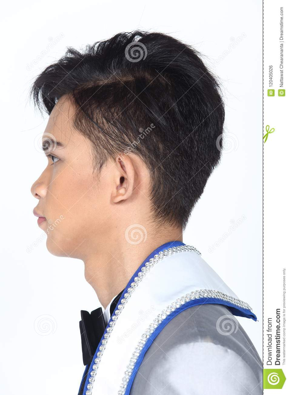 Asian Man After Applying Make Up Hair Style No Retouch Fresh F
