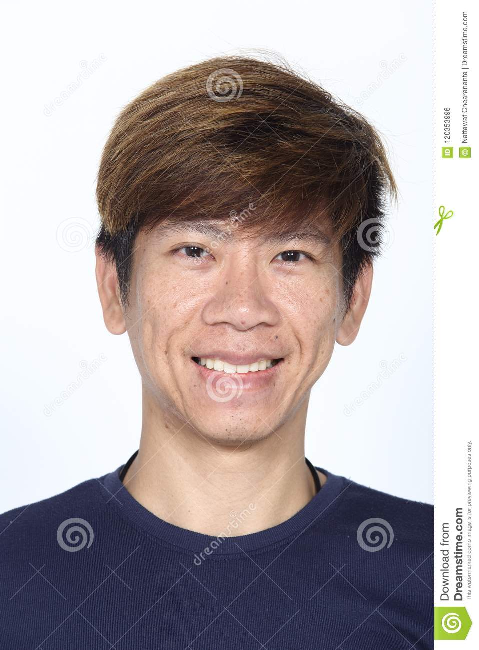 Asian Man Before Applying Make Up Hair Style No Retouch Fresh