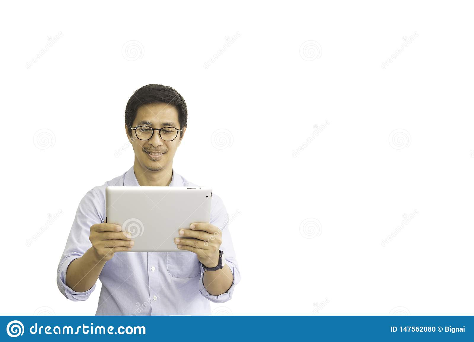 Asian man with eyeglasses looking at tablet isolated clipping path.