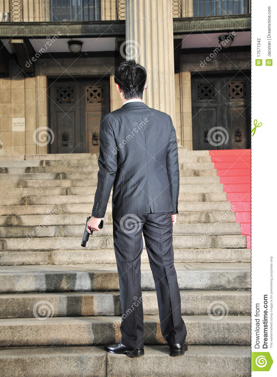 Extended Rear Facing >> Asian Man With A Gun With Back Facing Viewer 2 Stock Photography - Image: 17571342